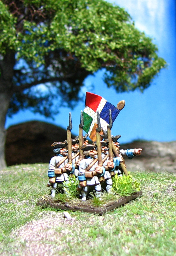 15mm Battleline French Seven Years War, Battleline Miniatures, French Infantry in turnbacks Royal Roussillon