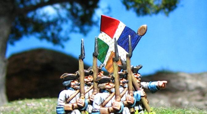 15mm Battleline French Seven Years War, Battleline Miniatures, French Infantry in turnbacks Royal Roussillon