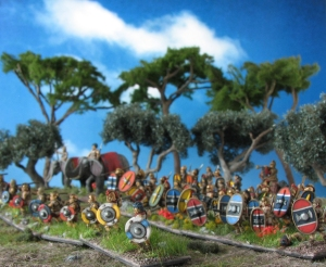 Corvus Belli, Xyston, Scutati, Scutarii, Caetrati, Elephants, 15mm, Freehand