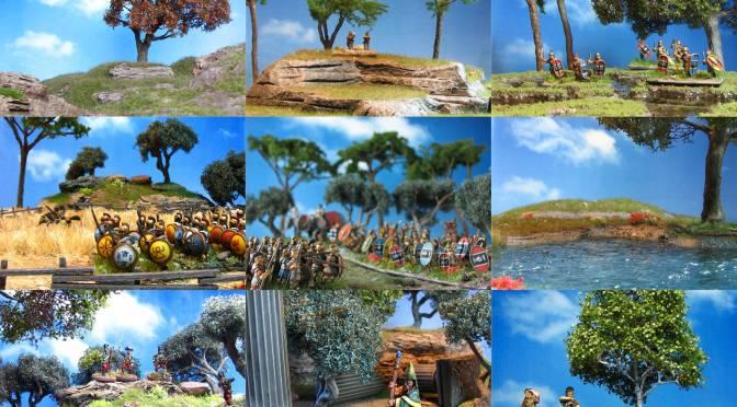 Wargaming terrain, mediterranean, olive grove, pine trees, lake, hills, swamp,15mm, 28mm