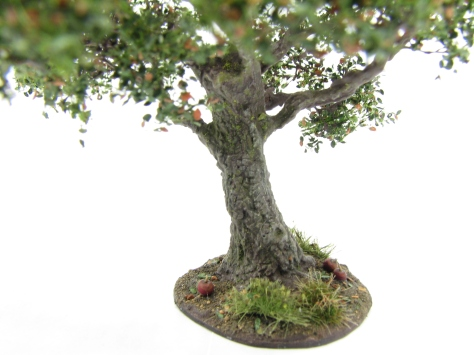 wargamign terrain, apple tree, scenic base, tutorial