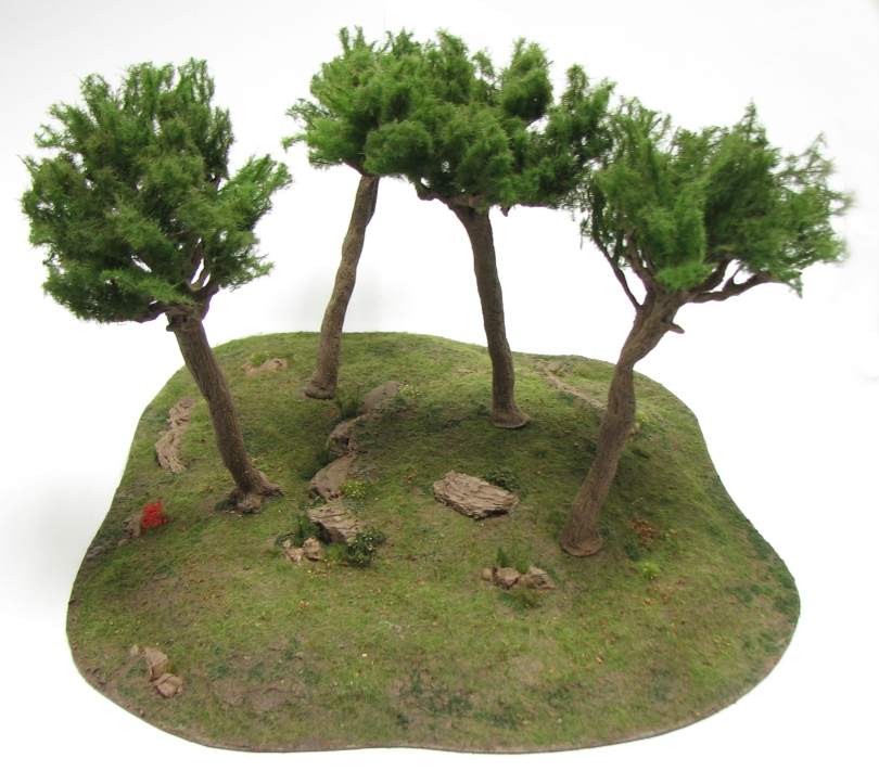 wargamign terrain, pine tree, scenic base, tutorial, magnetised, hill