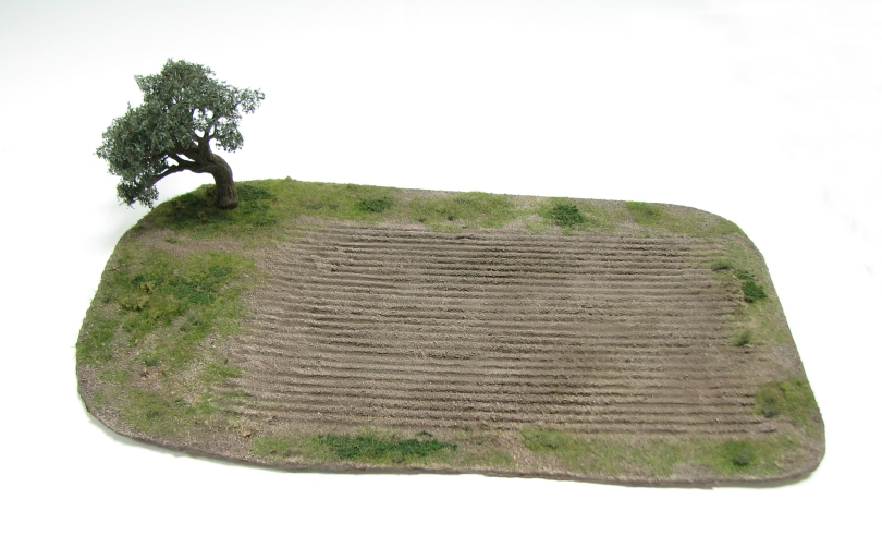wargamign terrain, olive tree, scenic base, tutorial, magnetised, ploughed field