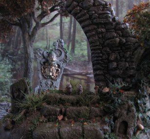 daggerandbrush, dagger and brush, daggerbrush, Wargaming, terrain, tutorial, forest, graveyard, ruins, Ghost King, Anirion Wood Elf Wizard, Reaper Miniatures, flagstone, basing, well of chaos
