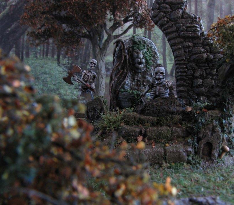 daggerandbrush, dagger and brush, daggerbrush, Wargaming, terrain, tutorial, forest, graveyard, ruins, Ghost King, Anirion Wood Elf Wizard, Reaper Miniatures, flagstone, basing