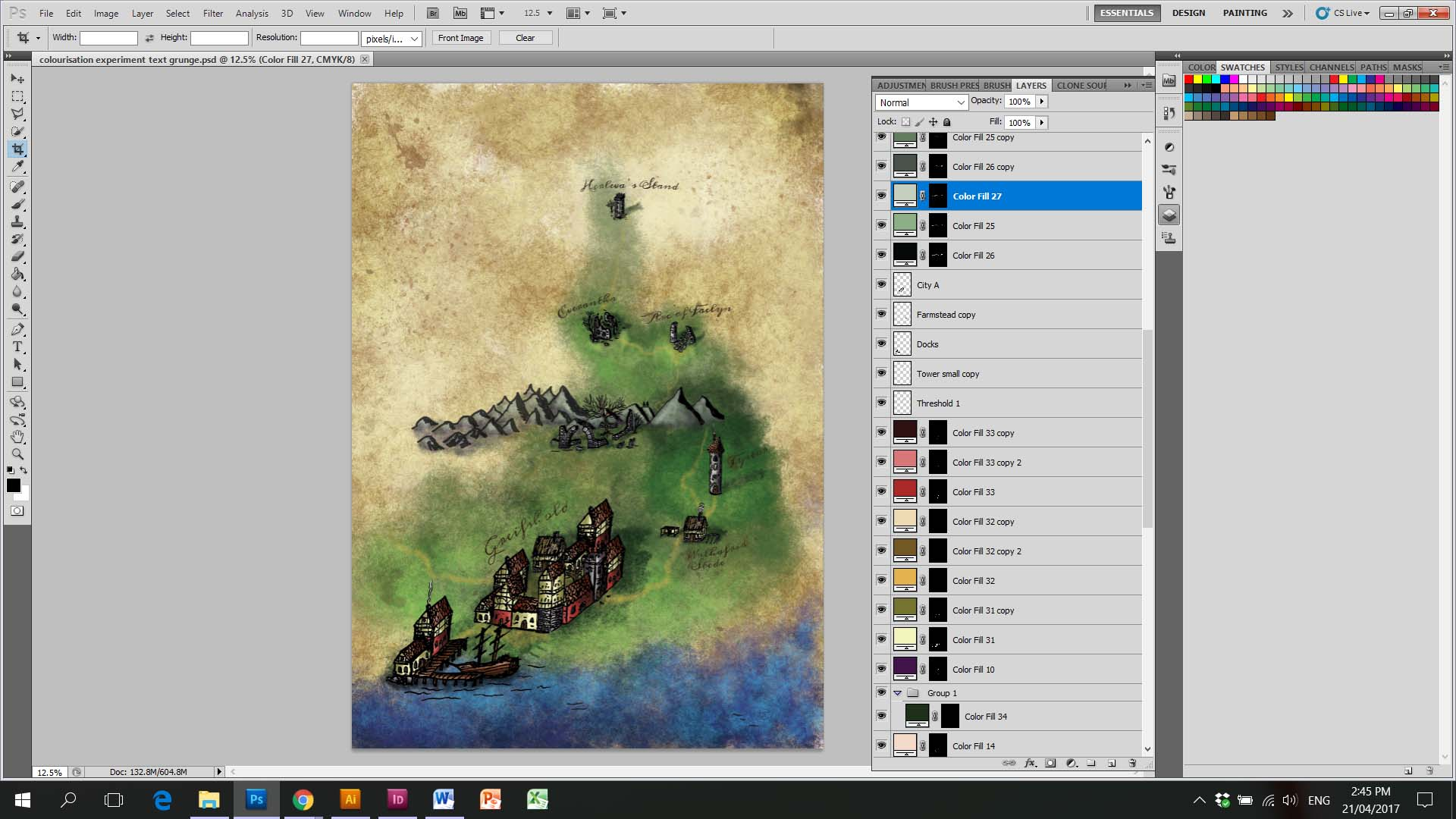 Photoshop Painting Underneath Other Colors